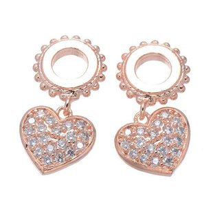 Handmade DIY Jewelry Findings Copper Rhinestone Heart Floating Charms Breloque Pendants Bracelets Necklace Connectors Accessories Wholesale