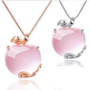 Wholesale sterling apple necklace resale online - 925 sterling silver apple pendant stylish necklace natural hibiscus jewelry Christmas necklace gift