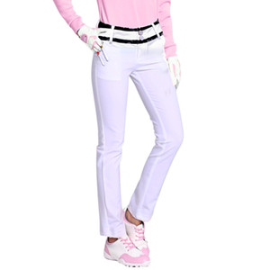 Wholesale PGM Brand White Golf Pants for Women Super Elestic Sports Ball Trousers with Golf Tee Pockets Black Lace Slim Stretch Pants