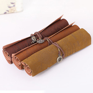 Wholesale Hot Sale Retro Pirate Treasure Map Roll Up PU Leather Pencil Case Pen Bags Make Up Holder gift