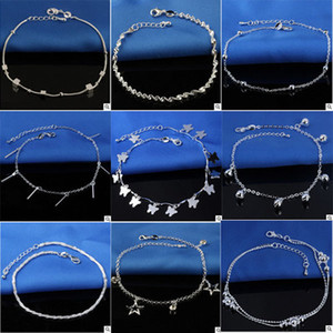 Wholesale hot feet anklets for sale - Group buy Hot Selling Stamped Sterling Silver Anklets For Womens Simple Beads Silver Chain Anklet Ankle Foot Jewelry