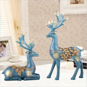 Wholesale Beautiful Pair Small Deer Ornaments Decoration Miniature Figurine Toys Animal Statues European Modern Art Crafts Home Office Decor