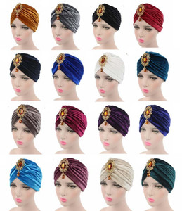 Muslim Women Velvet Ruffle Crystal Pendant Brooch Turban Hat Cancer Chemotherapy Chemo Beanie Bandana Hijab Cap Hair Accessories