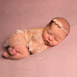 Wholesale Newborn Photography Props Tiny Baby Girl Photo Shoot Petal Embroidery Lace Rompers Outfits Clothes Infant Baby fotografie Props