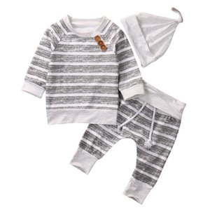 2018 Newborn Baby Boys Striped Gray Top Pants Hat 3Pcs Set Outfits Long Sleeve Brief Styles baby Boy Clothes 0-18M