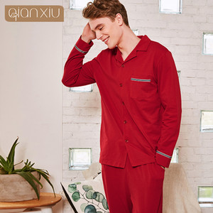 Wholesale 2018 Autumn Homewear Men Casual Pajama sets Male Modal Cotton Sleepwear suit Couples Turn down collar Cardigan shirt amp Pants