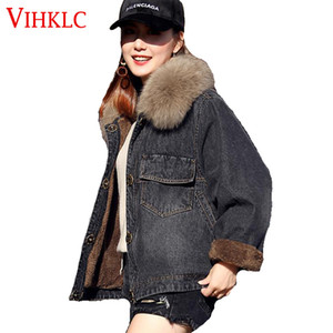 Wholesale Fur Parkas Womens Winter Fashion Loose Thicker Warm Wool Real Large Fur Collar Cowboy Short Parkas Short Jacket H566