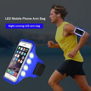 LED Night Warning Running Bags Waterproof Sports Armband for Mobile Phone Jogging Case Cover Holder Q0548