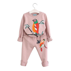 Wholesale 2018 Spring Autumn Children Clothing Sets Baby Clothes Cotton Birds Printing Sweatshirts Pants Trousers Korean Girls Casual Tracksuits