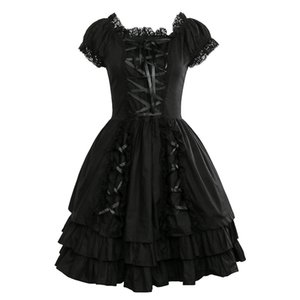 Wholesale Takerlama Womens Classic Black Layered Lace Up Cotton Short Sleeve Gothic Lolita Dress Punk Clothing Costumes Dress