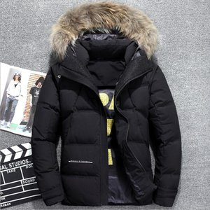 Wholesale Men s Fur Hood Winter Warm Snow Duck Down Parkas Coats V1105