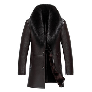 Wholesale Haining men's long fox big fur collared leather lapel high-end fur integrated casual thickening coat s-4xl