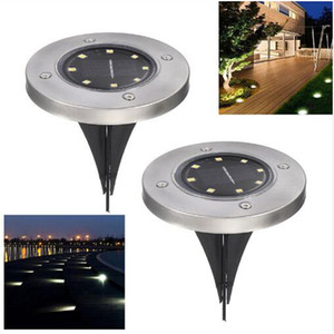 8 LED Solar Power Buried Cool White Light for Ground Lamp Outdoor Path Way Garden Emergency Decking Underground Lamps DHL free