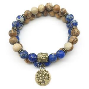 Wholesale SN1281 Trendy Designer Buddha Head Bracelet Set Picture Jasper Dark Blue Regalite Bracelet Tree of Life Natural Stone Jewelry