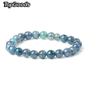 Wholesale 2018 New Natural Crackle Bracelet Dark Blue Agate Stone Bracelets for Women mm Loose Onyx Gemstone Bracelets Fashion Jewelry