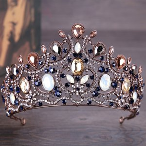 Vintage Crown Elegant Sapphire Diamond Bridal Crown Headdress Bridal Hair Accessories on Sale