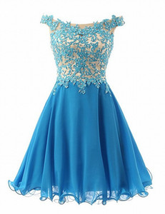 Short Off Shoulder Elegant Homecoming Dresses Women's Fashion Blue Lace Bridal Gown Special Occasion Prom Bridesmaid Party Dress 17LF912 on Sale