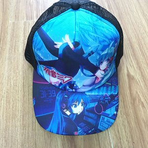 Wholesale Anime Hatsune Miku Sun Cap Baseball Peaked Snapback Mesh Hat for Boys or Girls