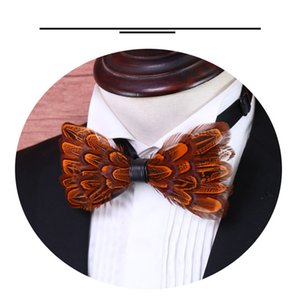 vintage Style Luxury orange Feather Bow Tie Men HandMade Feather Bowtie With Gift Box men dress Accessories