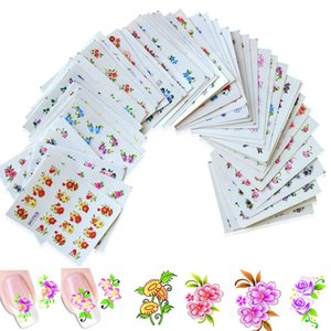 50Sheets Summer Nail Art Designs Water Transfer Wraps Nail Sticker New Flower DIY Tips Nail Decals Tools XF1151-1200