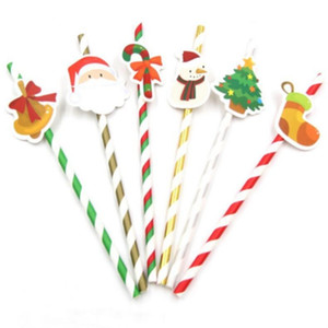 Wholesale 10PCS DIY Merry Christmas Paper Straws Drinking Straws Kids Birthday Christmas Party Decoration Supplies Paper Drinking Straws
