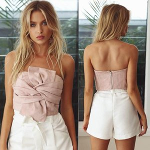 Wholesale Autumn Explosion One piece collar halter suede sexy stitching top Back zippered small wrap chest Solid color new