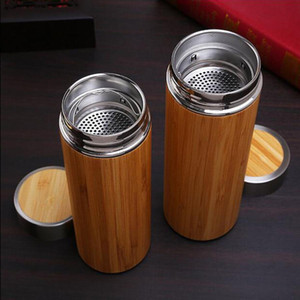 Wholesale Creative Bamboo Water Bottle Vacuum Insulated Stainless Steel Cup With Lid Tea Strainer Boccaro Ceramic Inner Bamboo Wooden Straight Cup