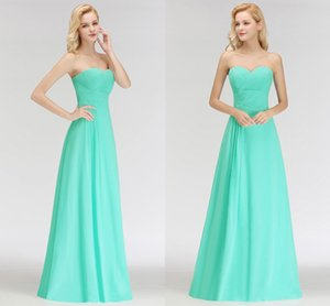 Aqua Summer Beach Sweetheart Bridesmaid Dresses Cheap Long A Line Chiffon Draped Pleats Floor Length Maid of Honor Gowns BM0051
