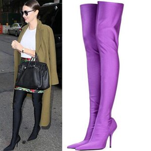 Wholesale Elastic Fabric Sock Over The Knee Boots Women Stiletto High Heel Pumps Colors Long Knife Booties Sexy Pointed Toe Thigh High Boots
