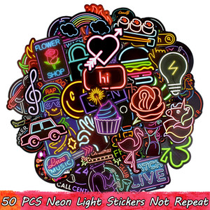 Wholesale small cars kids for sale - Group buy 50 Waterproof Graffiti Neon Stickers Bar Sign Decals for Party Decor DIY Laptop Skateboard Luggage Guitar Headset Motorcycle Car Gifts