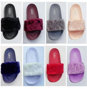 Wholesale Leadcat Fenty Rihanna Faux Fur Slippers Women Girls Sandals Fashion Scuffs Black Pink Red Grey Blue Designer Slides High Quality With Box