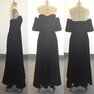 Real Image 2018 Black Velvet Short A Line Prom Dresses Evening wear Plus Size Long Sexy See Through Formal Prom Gowns Simple Party Dress on Sale