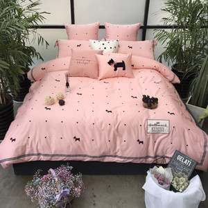 Wholesale egyptian cotton Cartoon dogs print Luxurious bedding sets duvet cover flat sheet pillowcase Cushion Cover queen king bedsheet