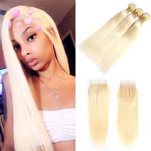 Wholesale human hair bundles silk lace closure for sale - Group buy Blonde Lace Closure With Bundles Blonde Brazilian Silk Straight Free Part Lace Top Closure With Human Hair Weaves