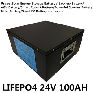 3000cycles 2400W 24V 100AH 100A LIFEPO4 battery for powerful AGV smart robot Scooter Mini EV Electric forklift Golf Trolley UPS system