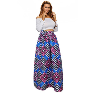 Wholesale Women Lady Summer Boho Flare Pleated Casual Party Maxi Long Beach Skirt Dress Ypf50