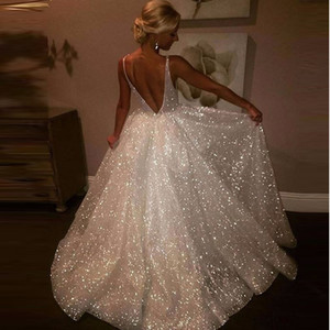 Wholesale 2019 Cheap Sequined Prom Dresses Backless Robe De Soiree Spaghetti Straps Long Party Gowns Abendkleider Deep V Neck Evening Dress