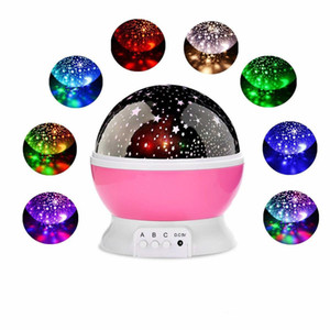 Wholesale Christmas decorations Stars Starry Sky LED Night Light Rotating Projector Moon Lamp Romantic Bedroom Bedside Lights For Children Baby gifts