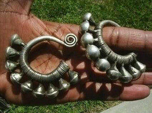Charming Tibet Tribal Jewelry Miao Silver Big Hollow Earrings pair