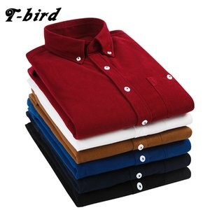 T-Bird 2108 New Shirts Men Clothing Long Sleeves Corduroy Dress Shirt Autumn Brand Casual Men's Shirt Solid Male Slim Fit Shirt Y1892101 on Sale