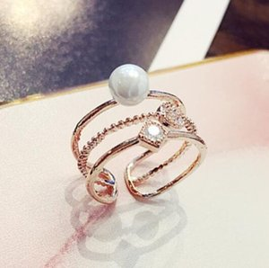 Wholesale luxury jewelry designer rings for women pearl zircon setting charm band rings hot fashion free of shipping