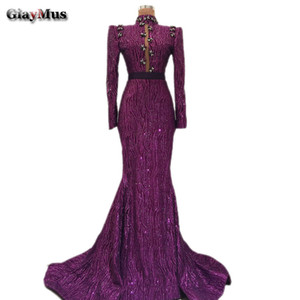 GiayMus Design Purple Sheath Evening Dresses 2018 High Neck Long Sleeves Luxury Sequins Prom Dresses Crystal Brooch Vestidos De Festa Longo on Sale