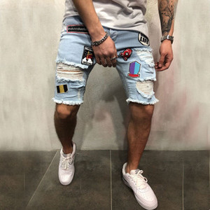 Wholesale Personality Men s Fashion Embroidery Hole Patch Patch Pants Stretch Denim Shorts Male Simple Fashion Jeans