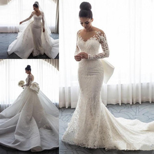 Wholesale Custom Made Vintage Lace Mermaid Wedding Dresses with Detachable Train Jewel Full Sleeve Lace Appliques Bridal Gown with bow vestido de