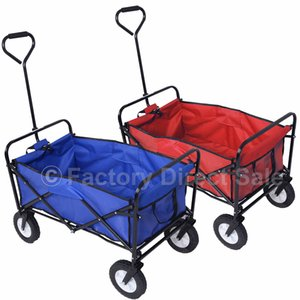 Wholesale Collapsible Folding Wagon Cart Garden Buggy Shopping Beach Toy Sports Red Blue