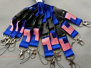 Flag of the United States U.S.A flag lanyard Removable Key Chains Badge Pendant Party Gift moble phone lanyard 30pcs free shipping