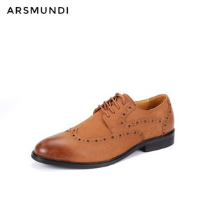 Wholesale Men Genuine Leather Dress Shoes Oxfords Brogue Derby Nubuck Leather Lace up Business Shoes Men Wedding Cow Suede