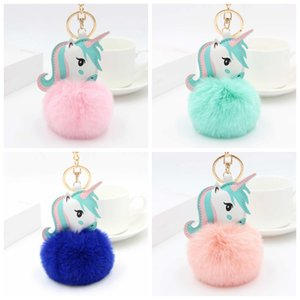Wholesale Unicorn Keychains Fluffy Keyrings Plush Pompom Pony Key Holder Cartoon Artificial Fur Ball Keychain Women Girl Bag Accessories Jewelry