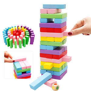 Wholesale Rainbow Domino Blocks Wooden Building Colored Years Old Girls Boys Learning Educational Toys Wood Dominos Bricks Gift For Children