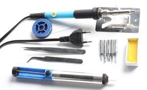 New Kit 60W 220V EU Plug Adjustable Temperature Soldering Iron Tips Desoldering Welding Iron Stand Tweezers Solder Wire Rosin
